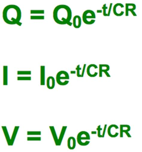 equations for charging and discharging a capacitor capacitors revision a2 level
