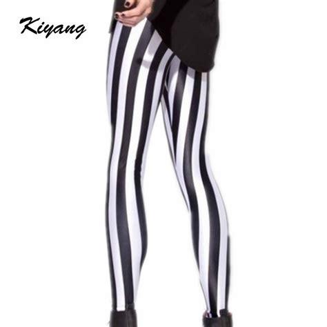 J2 Legging Fashion D0972 Black womens black and white striped spandex plus size fashion vertical stripes milk