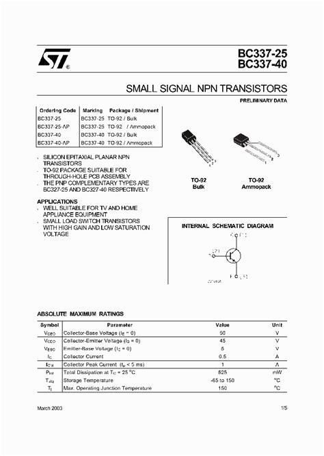 transistor bc337 datasheet pdf bc337 40 ap 289241 pdf datasheet ic on line