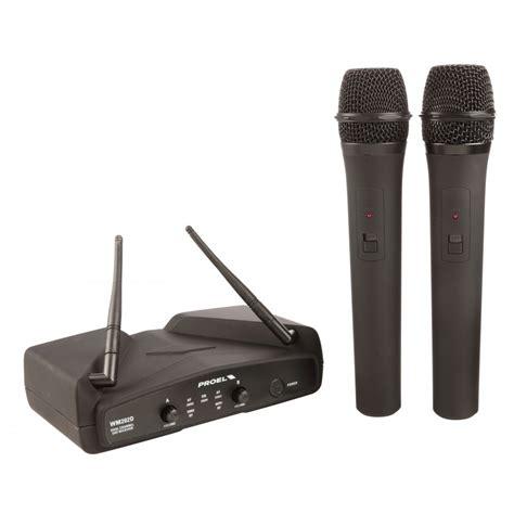 Mic Wireless Proel Wm202dm proel wm202dm dual uhf handheld fixed frequency wireless