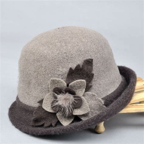 Camel Gray Purple 253 floral bow wool hat foldable cloche