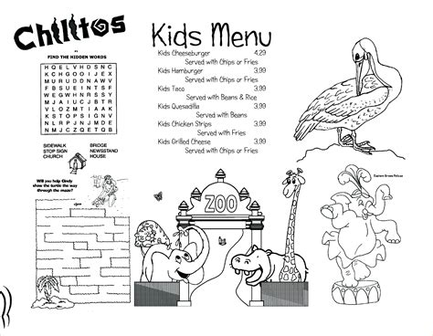 6 kids menu template procedure template sle