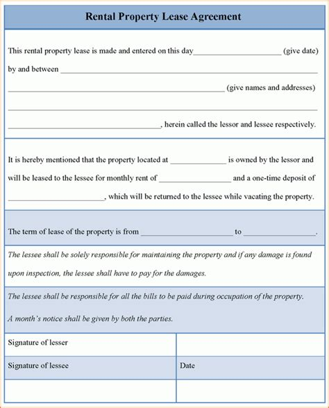 rent to buy agreement template 7 property rental agreement printable receipt