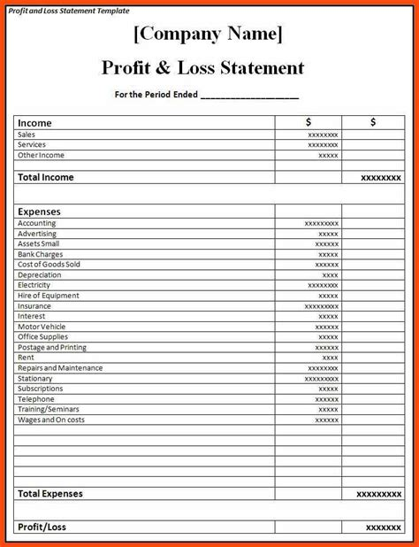 profit and loss template program format