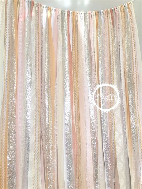 shower curtain backdrop blush nude rose quartz peach with silver sparkle sequin