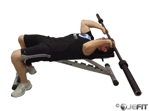 tricep extension on bench barbell triceps extension exercise database jefit