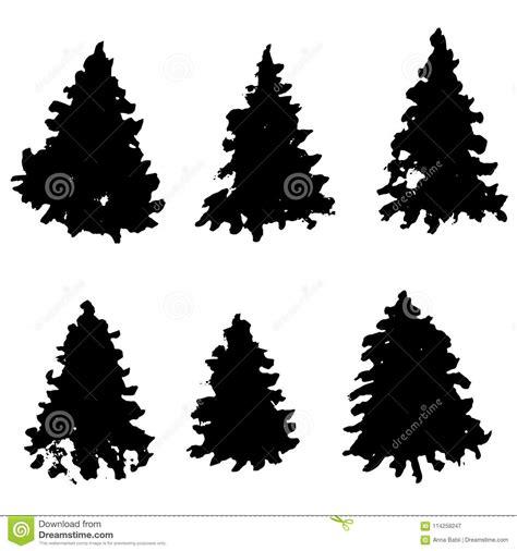 silueta de árbol de navidad sistema de siluetas 225 rbol de abeto 193 rboles de navidad negros grunge piceas de la