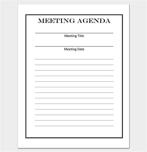 meeting outline template 13 formats exles and sles