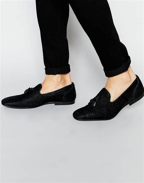 asos mens loafers asos tassel loafers in black snake texture in black for