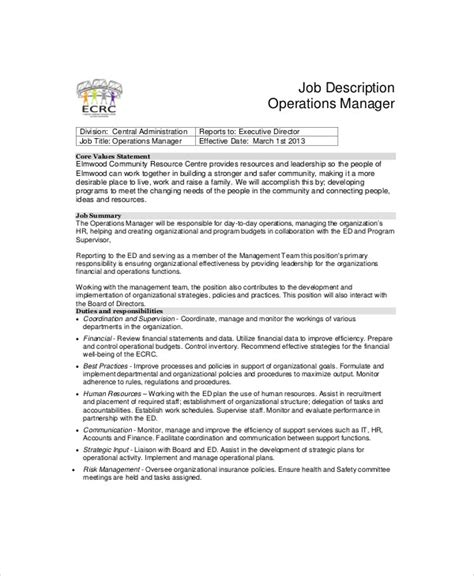 operations manager description plant manager description sle 8 exles in word