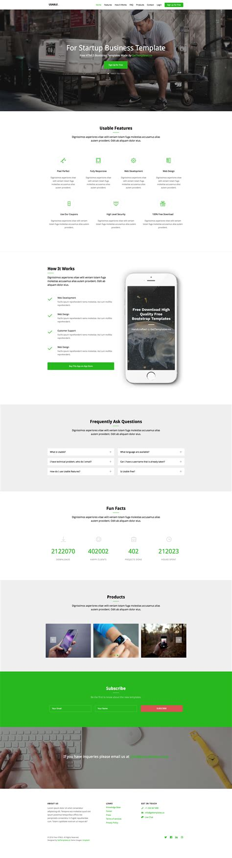 usable free responsive html5 bootstrap one page template