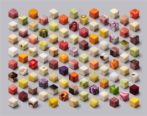 precise food a variety of unprocessed foods cut into uncannily precise 2 5cm cubes by lernert