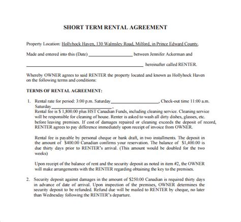 Lease Without Deposit Sle Term Rental Agreement 8 Free Documents In