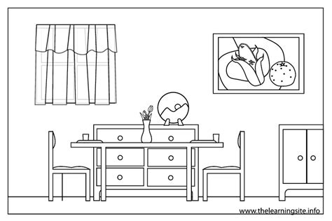 coloring pages house rooms dining room coloring pages download and print for free