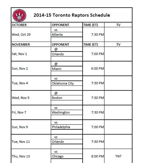printable raptors schedule print out toronto raptors schedule for 2014 15