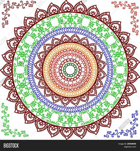 colorful henna colorful henna mandala design vector photo bigstock