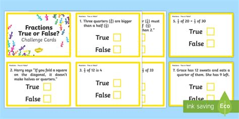 true or false cards template year 2 fractions true or false challenge cards