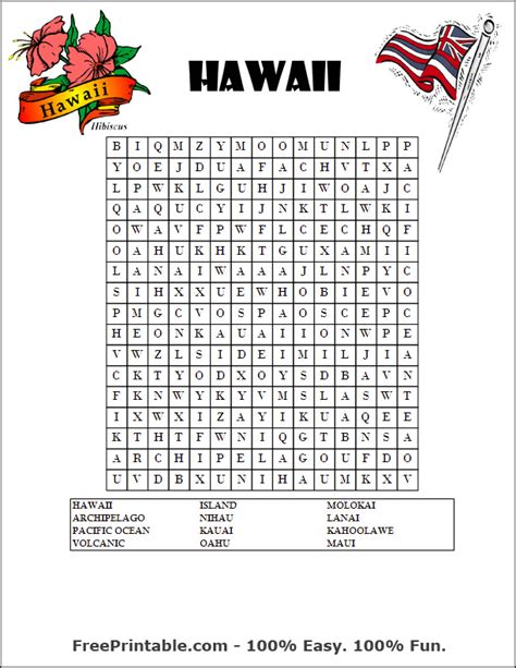 Hawaii Search Print Hawaii Word Search Picture To Pin On Thepinsta