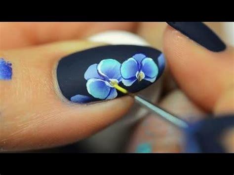 easy nail art poppy design one stroke nail art orchid one stroke youtube