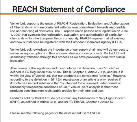 Reach Compliance Venkel Reach Certificate Template