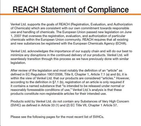 reach certification letter reach compliance venkel