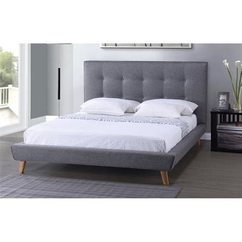 grey upholstered queen bed jonesy upholstered queen platform bed in gray bbt6537