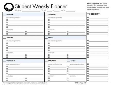 Daily Planner Template For Students Listmachinepro Com Planner Templates For Students