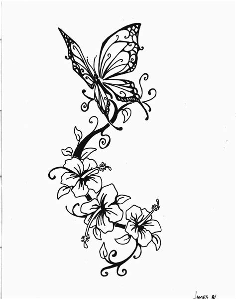 lily butterfly tattoo designs flowers and butterfly design