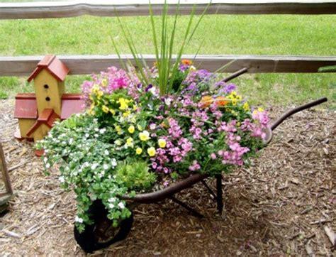 Wheelbarrow Garden Ideas Wheelbarrow Planter Landscape Container Garden Small Backyard Landscaping Ideas Hahoy