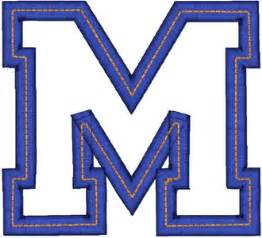 Block M Outline 3d embroidery letters fonts 3d embroidery letters fonts