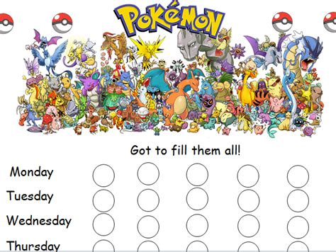 pokemon reward chart by caitrionahansen teaching
