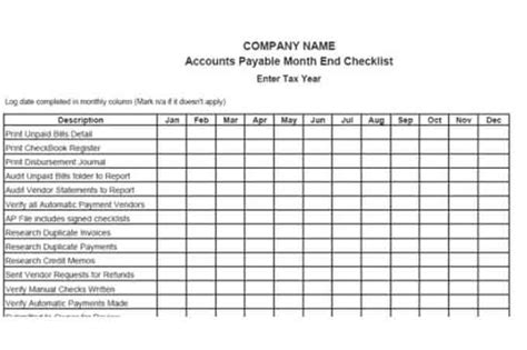account payable template procedures for small business checklist