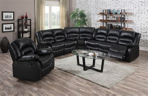 9171 reclining sectional sofa in black bonded leather w