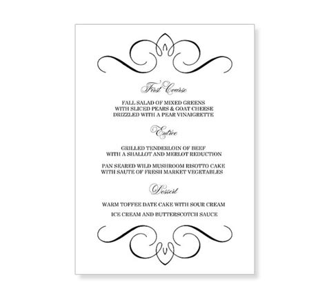 instant download wedding menu template flourish design by