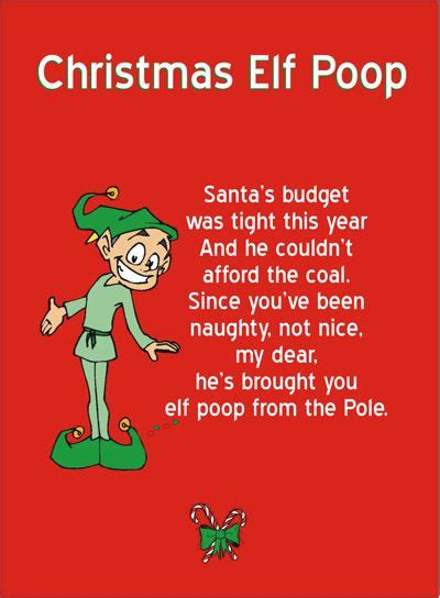 printable elf on the shelf poems printable quot elf poop quot poem attach it to a sandwich bag