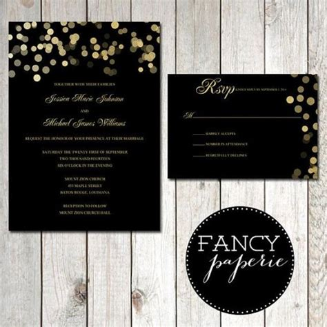 black and gold glitter wedding invitations black and gold glitter wedding invitations rsvp cards