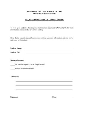 School Letter Of Standing fillable mc request for letter of standing