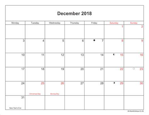 printable december 2017 calendar uk december 2018 calendar with holidays uk printable 2017