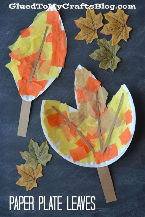 autumn leaves crafts for paper plate leaf kid craft