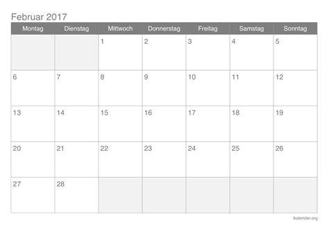 Kalender 2017 Februar Kalender Februar 2017 Zum Ausdrucken Ikalender Org