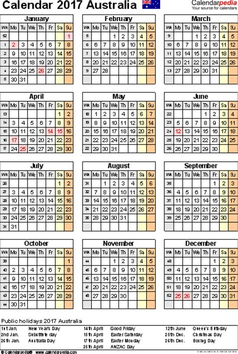 Calendar 2018 Tasmania Australia Calendar 2017 Free Printable Pdf Templates