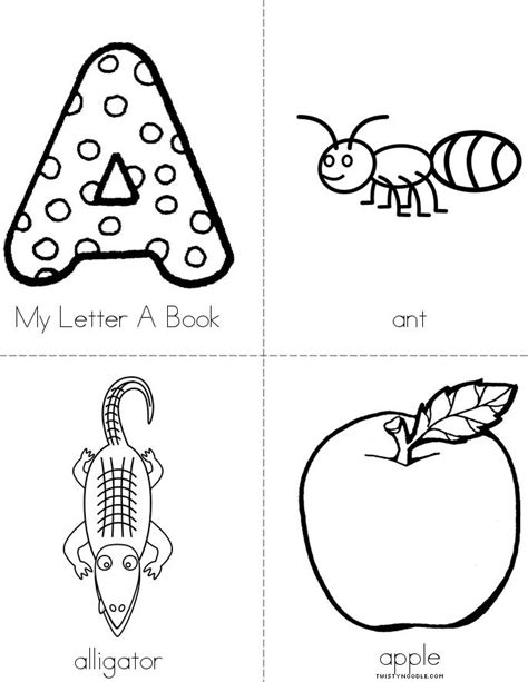 printable alphabet letters books my letter a book twisty noodle