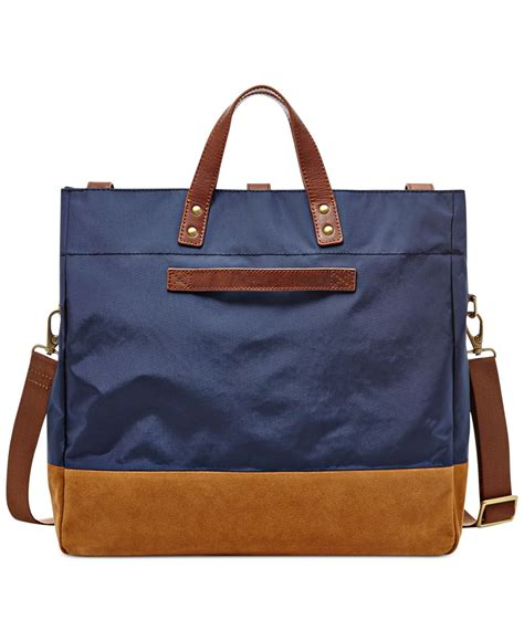 Fosil Totte Bag 2 fossil gordon foldover tote bag in blue for lyst