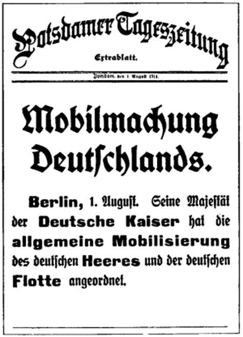 Wk Möbel Berlin by Der 1 Weltkrieg 1 August 1914