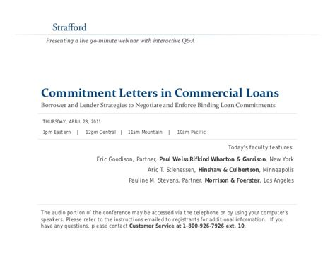 Financial Commitment Letter Commitment Letters In Commercial Loans Borrower And Lender Strategies