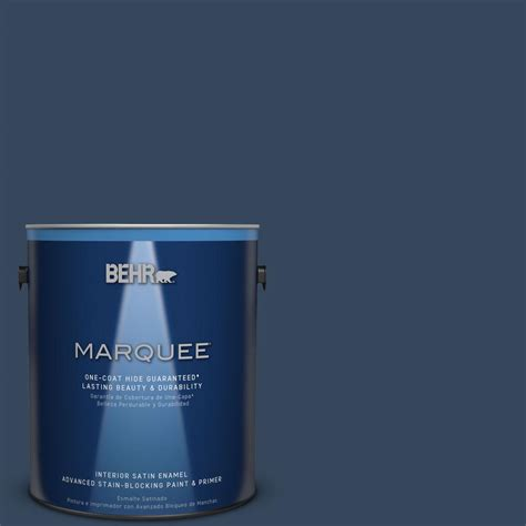 Best One Coat Coverage Interior Paint by Behr Marquee 1 Gal Mq5 54 Compass Blue One Coat Hide Satin Enamel Interior Paint 745301 The
