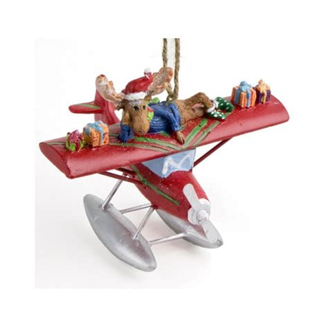 red xmas moose on a red plane christmas tree aircraft ornament