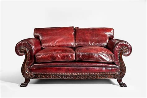 antique red leather sofa a two seater leather sofa c 1910 england from wick