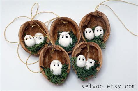 rustic ornaments owl ornament set rustic decorations animal