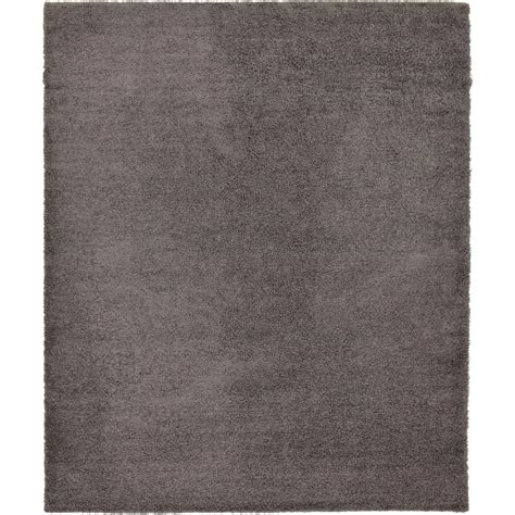 Area Rug 12 X 15 Unique Loom Solid Shag Graphite Gray 12 Ft X 15 Ft Area Rug 3128003 The Home Depot